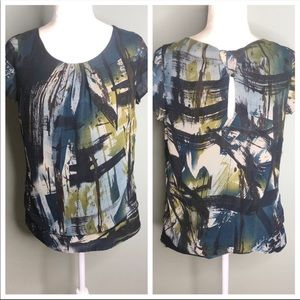 Liquid silk keyhole back made in USA blouse